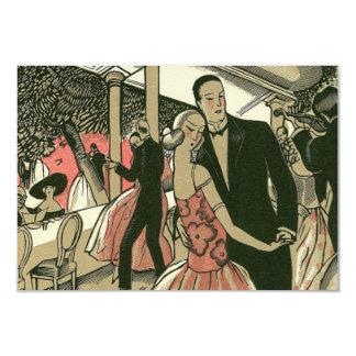 Carte Les nouveaux mariés vintages d'art déco dansent