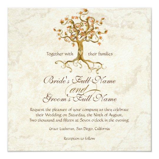 Carte Les racines d'arbre de remous Antiqued le mariage