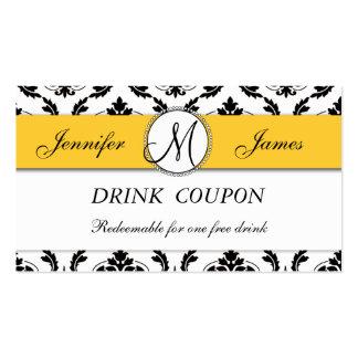 Carte libre de bon de boissons de mariage jaune de cartes de visite personnelles