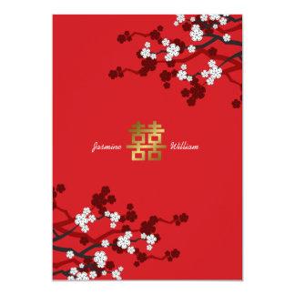 Carte Mariage chinois de double bonheur de fleurs de