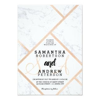 Carte Mariage de marbre blanc de bloc de couleur d'or