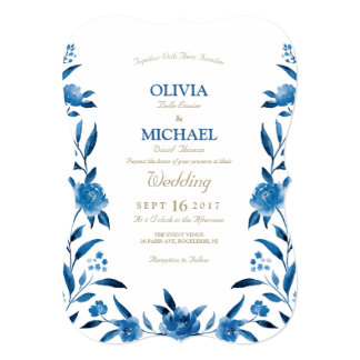 Carte Mariage floral de Chinoiserie d'aquarelle bleue
