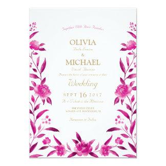 Carte Mariage floral de Chinoiserie d'aquarelle rose