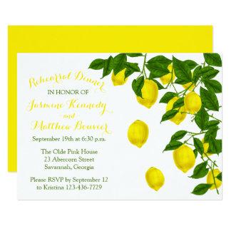 Carte Mariage jaune de vert de citron de dîner de