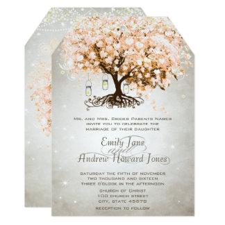 Carte Mariage rose couleur pêche d'arbre de feuille de