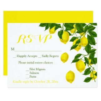 Carte Mariage vert de RSVP de citrons jaunes d'aquarelle