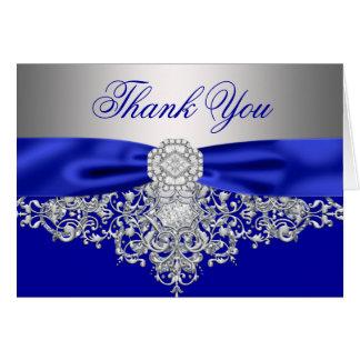 Carte Merci de diamant d'argent de bleu royal