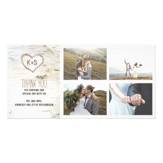 Carte Merci rustique de mariage de coeur d'écorce de