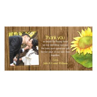 Carte Merci rustique de photo de mariage de tournesol en