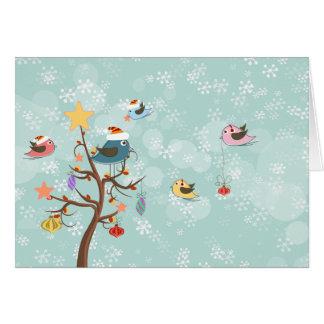 Carte mignonne d'oiseaux de Noël
