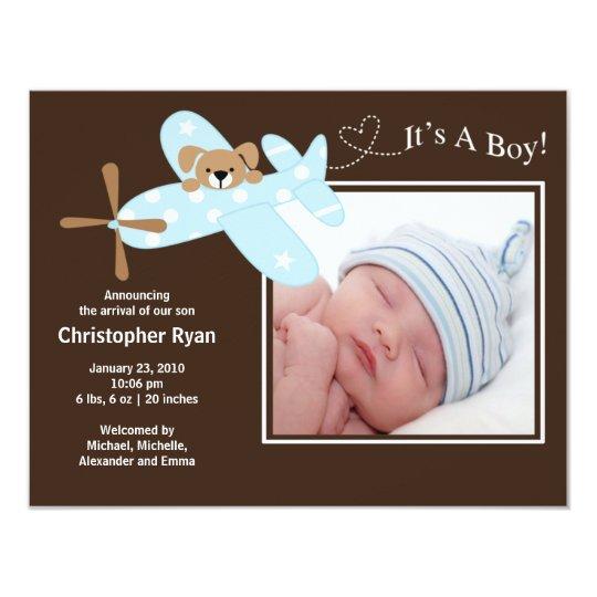 Carte Naissance bleue Annoucement de bébé d'avion