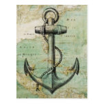 Carte nautique antique avec l'ancre cartes postales