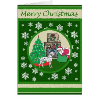 Carte Noël démodé dalmatien