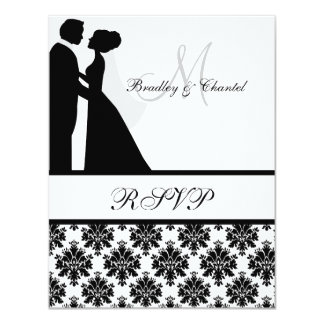 Carte noire et blanche des couples RSVP de mariage Carton D'invitation 10,79 Cm X 13,97 Cm