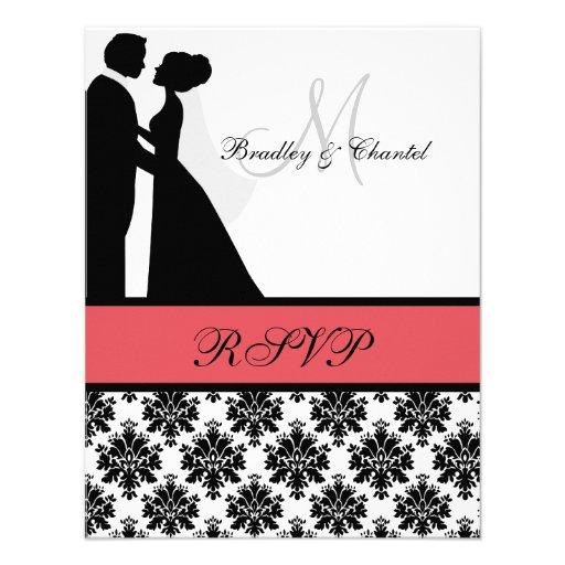 Carte noire et de corail des couples RSVP de maria Invitation Personnalisable