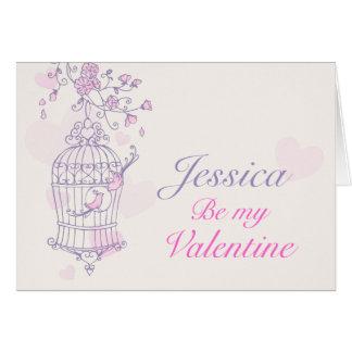 Carte nominative rose pourpre du jour de valentine