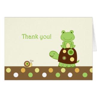 Carte Note de Merci pliée par grenouille de Laguna