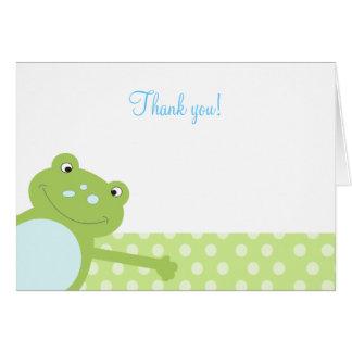 Carte Note de Merci pliée par grenouille verte de saut