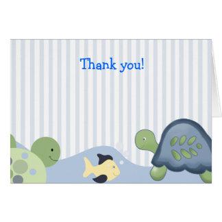 Carte Note de Merci pliée par TORTUE de RÉCIF