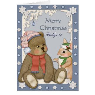 Carte Nounours - premier Noël du bébé