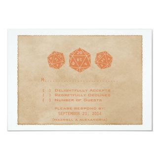 Carte orange de réponse de Gamer de matrices de la Carton D'invitation 8,89 Cm X 12,70 Cm