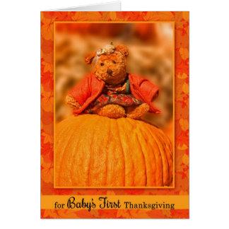 Carte Ours de nounours doux du ęr thanksgiving du bébé