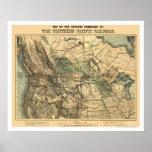 Carte Pacifique du nord 1871 de chemin de fer Poster