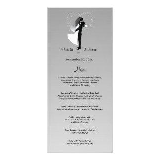 Carte personnalisable argentée de menu de mariage cartes doubles