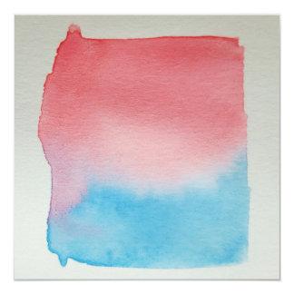 Carte personnalisable pour aquarelle de rouge bleu carton d'invitation  13,33 cm