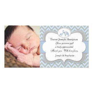 Carte photo bleu de Merci de bébé d'éléphant Cartes De Vœux Avec Photo