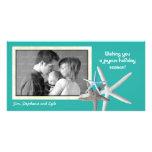 Carte photo bleu de Noël de famille d'étoiles de Cartes Avec Photo