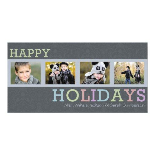 Carte photo chic de Noël d'ardoise de 4 photos Modèle Pour Photocarte