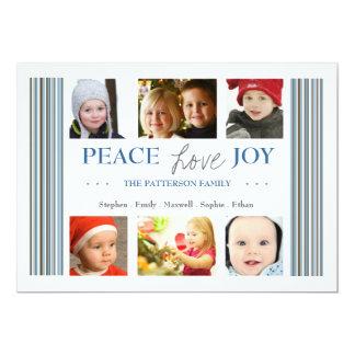Carte photo de bleu d'hiver de vacances de joie carton d'invitation  12,7 cm x 17,78 cm