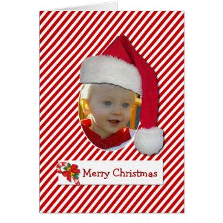 Carte photo de Chrismtas de casquette de Père Noël