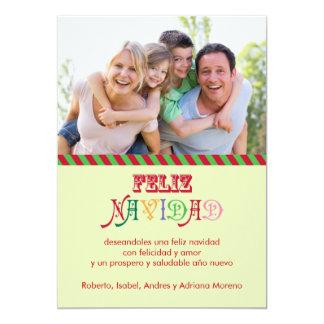 Carte photo de famille de Feliz Navidad Carton D'invitation 12,7 Cm X 17,78 Cm