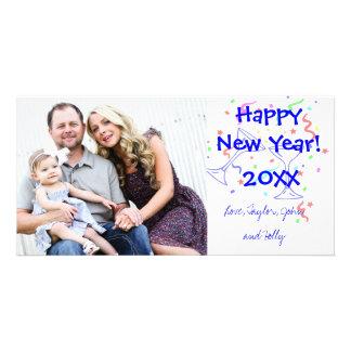 Carte photo de fête de salutation de bonne année modèle pour photocarte