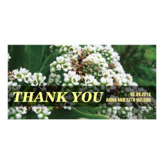 Carte photo de Merci de fleurs blanches Photocarte Personnalisée
