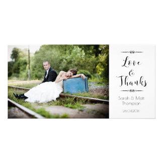 Carte photo de Merci de mariage de calligraphie Photocartes Personnalisées