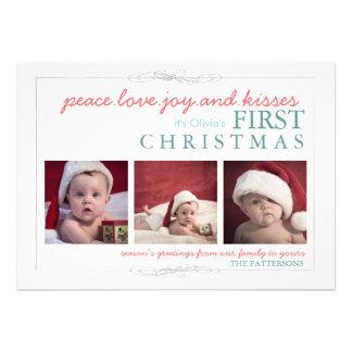 Carte photo de Noël du bébé de joie d'amour de pai Invitations Personnalisables