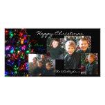 Carte photo de Noël heureux - arrière - plan noir Cartes De Vœux Avec Photo