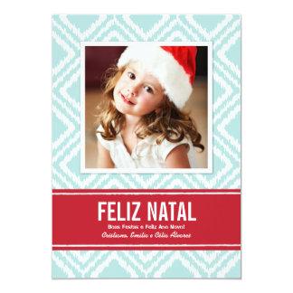 Carte Photo de Noël | Rouge et Bleu Motif Ikat Carton D'invitation 12,7 Cm X 17,78 Cm
