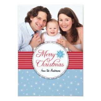 Carte photo de rouge bleu de flocons de neige de carton d'invitation  12,7 cm x 17,78 cm