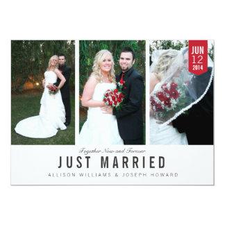 Carte photo de trio de faire-part de mariage