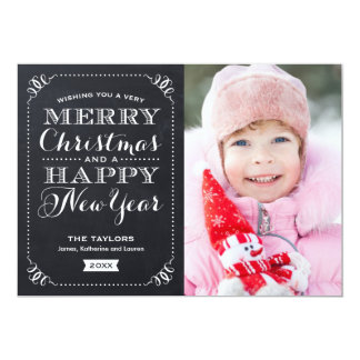 Carte photo de vacances de tableau de Noël très Carton D'invitation 12,7 Cm X 17,78 Cm