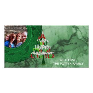 Carte Photo de vacances de vert d'arbre de Joyeux Noël