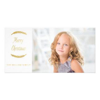 Carte photo d'or de Noël de branches Modèle Pour Photocarte