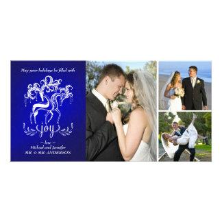 Carte photo élégant de collage de vacances de joie cartes de vœux avec photo