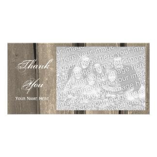 Carte photo en bois de Merci de grange de pays Cartes De Vœux Avec Photo