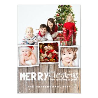Carte photo en bois rustique de Joyeux Noël de Carton D'invitation 12,7 Cm X 17,78 Cm