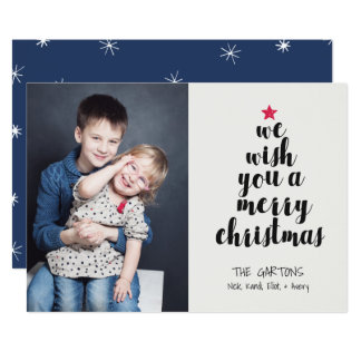 Carte photo exprimé de vacances d'arbre de Noël Carton D'invitation 12,7 Cm X 17,78 Cm